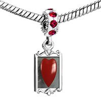 Charms Beads - red crystal dangle heart Image.