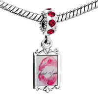 Charms Beads - red crystal dangle i love you kiss Image.