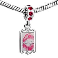 Charms Beads - red crystal dangle i love you kiss Image.