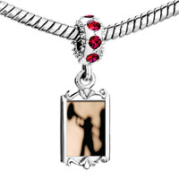 Charms Beads - red crystal dangle trumpet music silhouette Image.