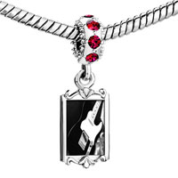 Charms Beads - red crystal dangle black electric guitar Image.