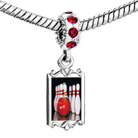 Charms Beads - red crystal dangle bowling pins Image.