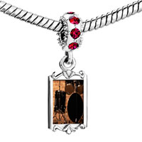Charms Beads - red crystal dangle rock roll drums Image.