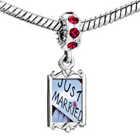 Charms Beads - red crystal dangle just married sign Image.