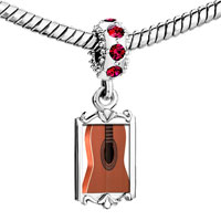 Charms Beads - red crystal dangle classic guitar Image.