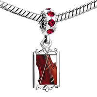 Charms Beads - red crystal dangle classical music violin Image.