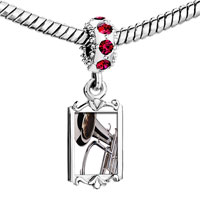 Charms Beads - red crystal dangle silver tone trumpet Image.
