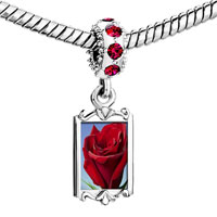 Charms Beads - red crystal dangle rose in sunshine Image.