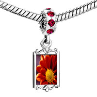 Charms Beads - red crystal dangle orange daisy Image.