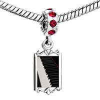 Charms Beads - red crystal dangle classic piano keys Image.
