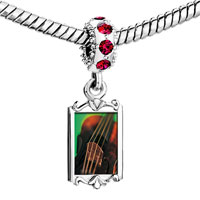 Charms Beads - red crystal dangle violin string music Image.