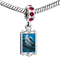 Charms Beads - red crystal dangle dolphin swimming Image.