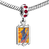 Charms Beads - red crystal dangle trumpet sheet music Image.