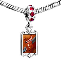 Charms Beads - red crystal dangle first chair violin Image.