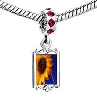 Charms Beads - red crystal dangle yellow sunflower Image.