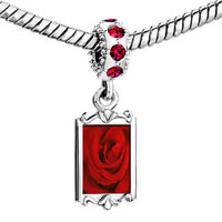 Charms Beads - red crystal dangle dew drop rose Image.