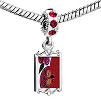 Charms Beads - red crystal dangle heart flowers Image.
