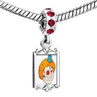 Charms Beads - red crystal dangle clown face enamel Image.