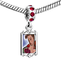 Charms Beads - red crystal dangle woman roses Image.