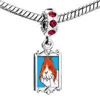 Charms Beads - red crystal dangle smiling bunny rabbit Image.