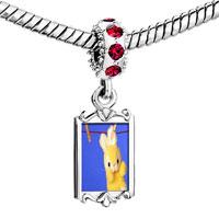 Charms Beads - red crystal dangle clothesline bunny rabbit Image.