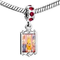 Charms Beads - red crystal dangle stuffed bunny rabbits Image.
