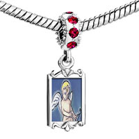 Charms Beads - red crystal dangle cupid bringing love Image.