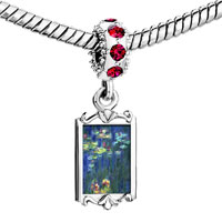 Charms Beads - red crystal dangle monet water lilies Image.