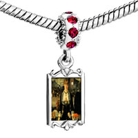 Charms Beads - red crystal dangle manet folies bergere art Image.