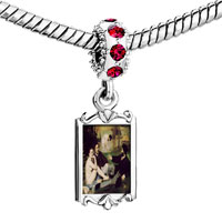 Charms Beads - red crystal dangle manet luncheon on grass art Image.