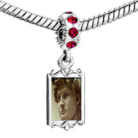 Charms Beads - red crystal dangle michelangelo david head Image.