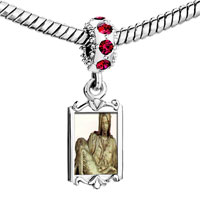 Charms Beads - red crystal dangle michelangelo la pieta art Image.