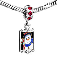 Charms Beads - red crystal dangle snowman cy cane Image.