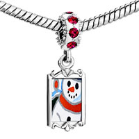 Charms Beads - red crystal dangle sunset snowman Image.