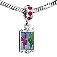 Charms Beads - red crystal dangle butterfly times two Image.