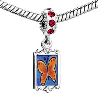 Charms Beads - red crystal dangle orange butterfly Image.