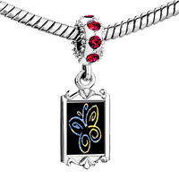 Charms Beads - red crystal dangle butterfly outline Image.