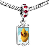 Charms Beads - red crystal dangle swimming rubber ducky Image.