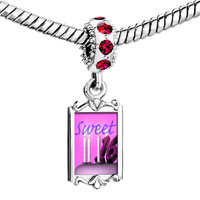 Charms Beads - red crystal dangle pink sweet sixteen Image.