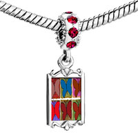 Charms Beads - red crystal dangle colorful butterfly print Image.