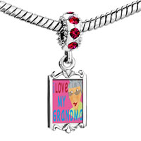 Charms Beads - red crystal dangle i love my grma Image.