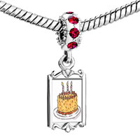 Charms Beads - red crystal dangle three cles birthday cake Image.
