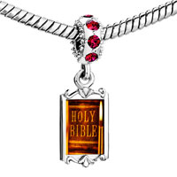 Charms Beads - red crystal dangle leather bound holy bible Image.