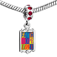 Charms Beads - red crystal dangle faith hope love Image.