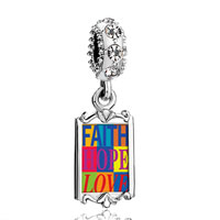 Clear Crystal Dangle Faith Hope Love