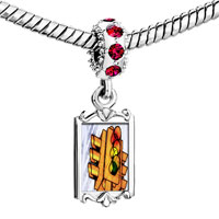 Charms Beads - red crystal dangle city traffic light Image.