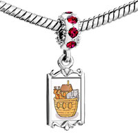 Charms Beads - red crystal dangle noah' s ark animals Image.