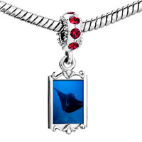 Charms Beads - red crystal dangle ocean stingray Image.