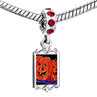 Charms Beads - red crystal dangle halloween jack o'  lanterns Image.