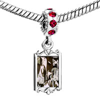 Charms Beads - red crystal dangle picasso guernica art Image.